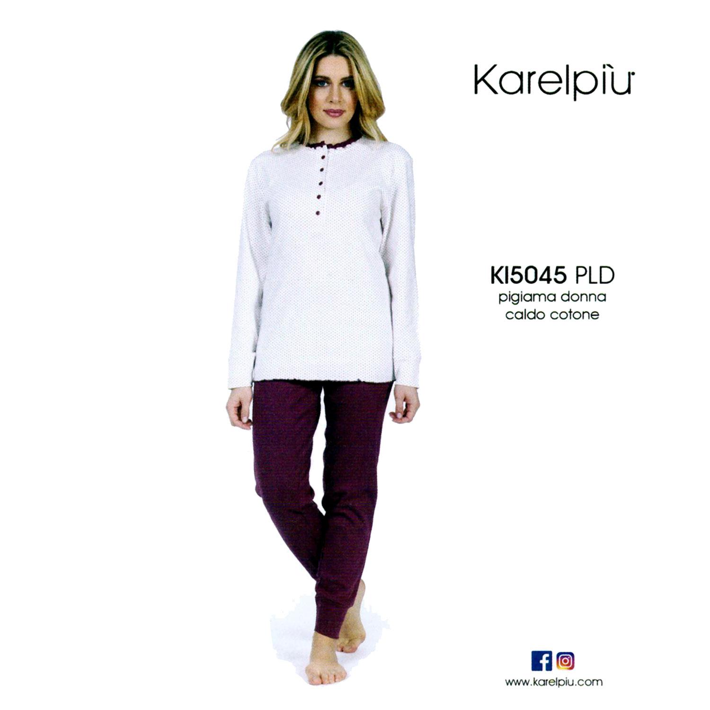 Karelpiu Πυτζάμα Γυναικεία σε Μπορντώ χρώμα με Πουά  daaa3afa0eb