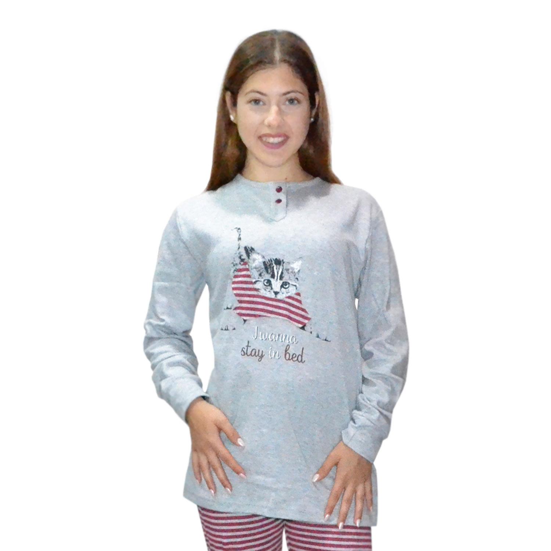 Karelpiu Πυτζάμα Γυναικεία Γατούλα σε Γκρι χρώμα  afb37ae10fc