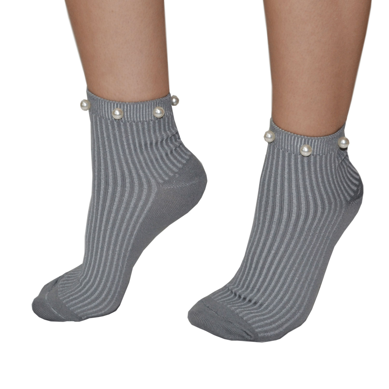 Ciocca Σοσόνια Κάλτσες με Πέρλες σε Γκρι ανοιχτό χρώμα  b88e7719ba2