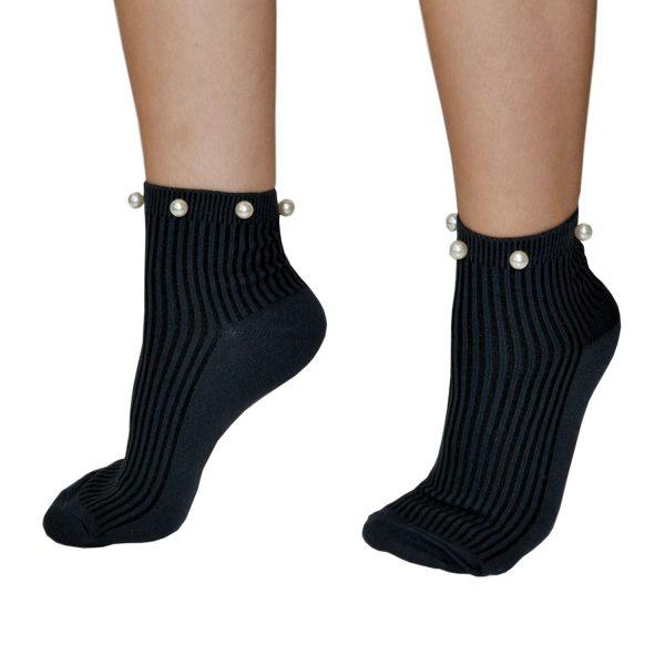 Ciocca Σοσόνια Κάλτσες με Πέρλες σε Ανθρακί χρώμα 6da1133b228