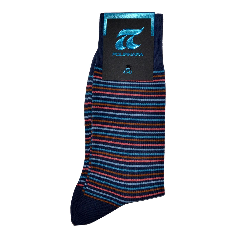 ΠΟΥΡΝΑΡΑ Κάλτσες Ανδρικές με λεπτή Ρίγα σε Μπλέ  b5ac929db96