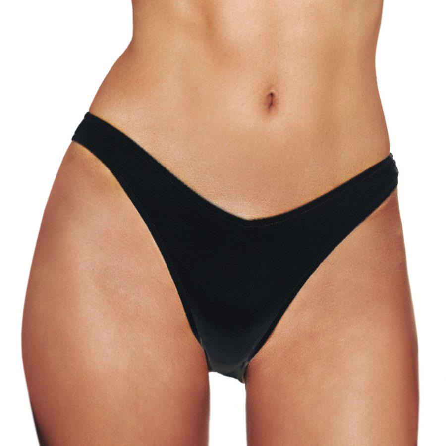 5c2fd2c2a2b Blu4u Μαγιώ Bikini Brazil 'Solids' Ψηλό με V σε Μαυρο χρώμα