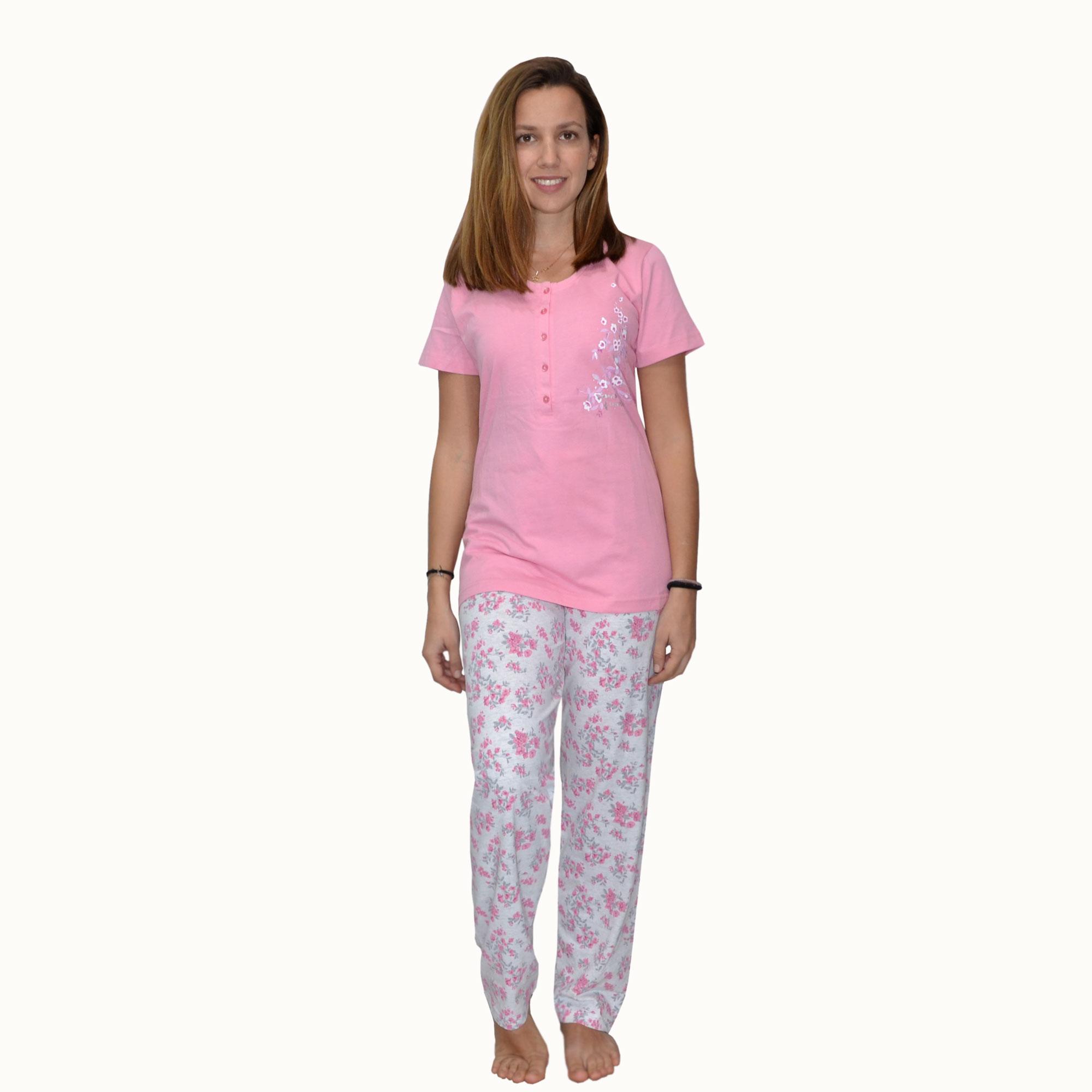 0d861cbaa29a Vienetta Πυτζάμα με Παντελόνι Κοντομάνικη σε Ροζ χρώμα