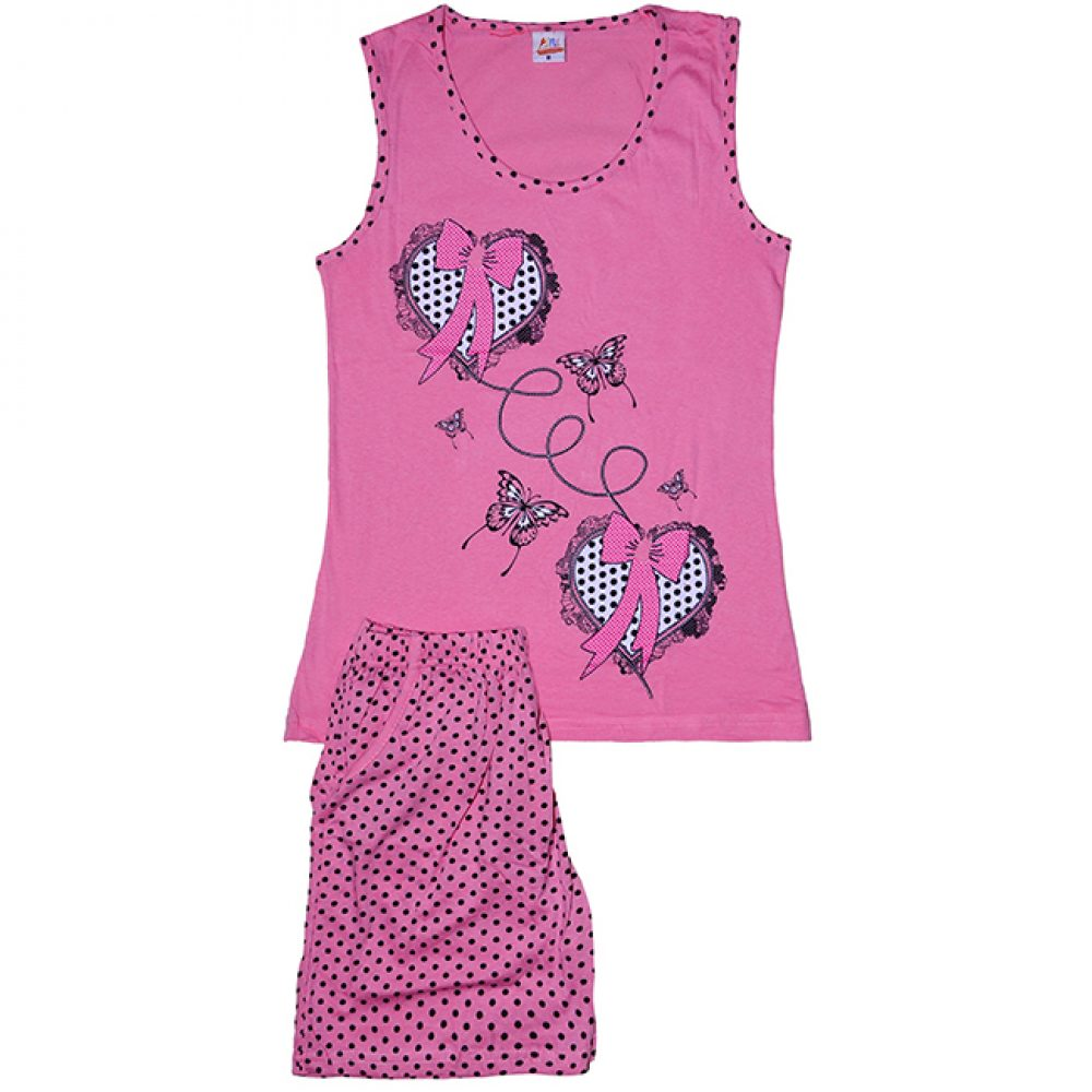 e22f5ac0347 Γυναικεία Πυτζάμα Καρδούλες Σορτς Αμάνικο Ροζ