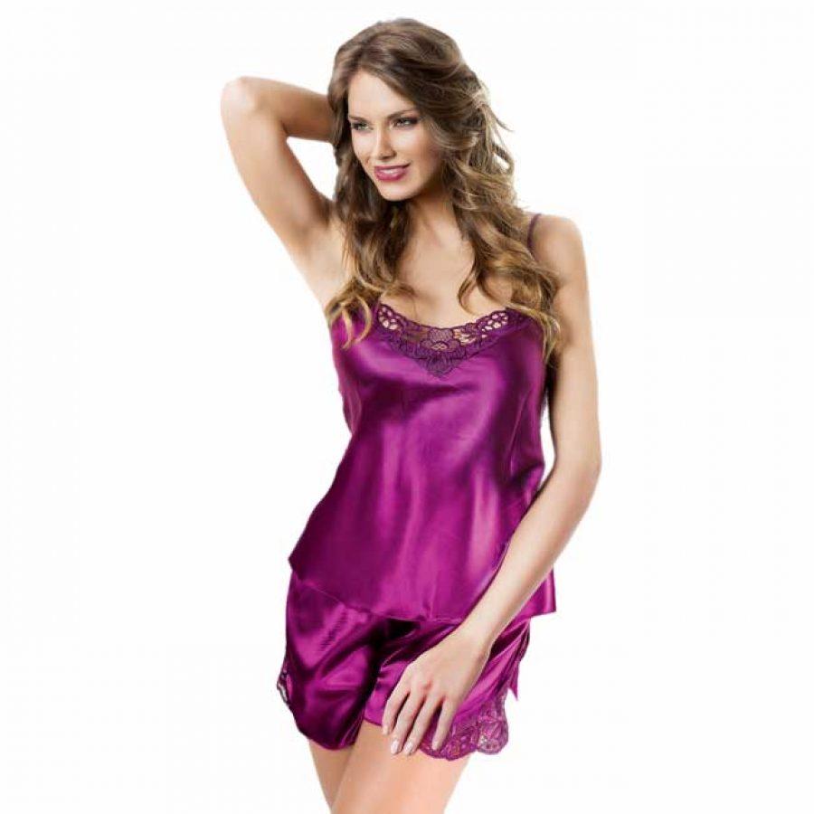 7415f6e2ec9 Miorre Babydoll Γυναικεία Πυτζάμα Σατέν σε Μώβ χρώμα