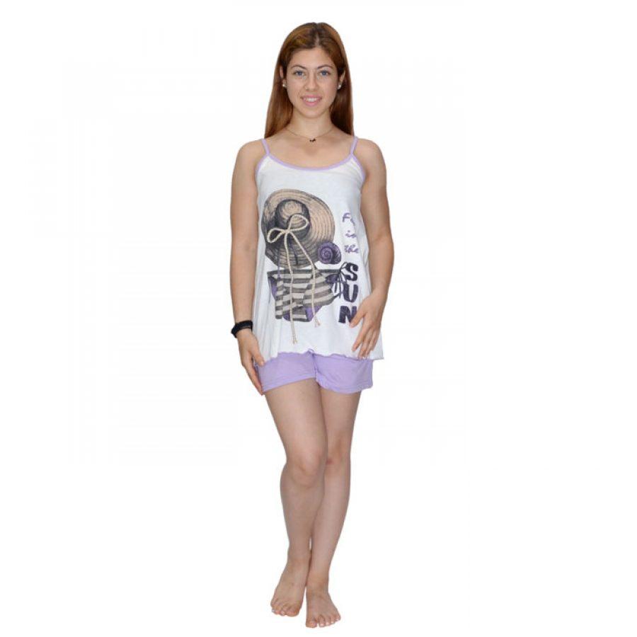 Γυναικεία Πυτζάμα Bozer Λευκό Μώβ 00539  56cdf376bf0